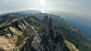 nature, Ukraine, Crimea, mountains, forest, the South coast, AI Petri, the funicular, black sea, the sky, light, the sun, 1234 meters, beautiful, Miskhor, Gaspra, Yalta, rock