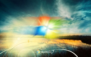 Windows 7, windows, vinda, photoshop, work, nature, the sky, sunset