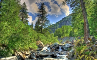 nature, mountains, river, stream, forest, Alps, the sky, clouds
