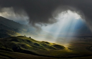 Indonesia, clouds, hills, ray, the sun, greens, beauty