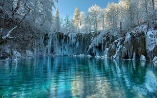 озеро, зима, бурульки, сніг, дерева, краса