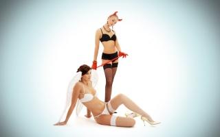 дівчата, білий фон, блондинка, шатенка, ангел, аїд, креатив, секси, фото