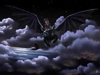 как приручить дракона, мультфильм, ночь, фэнтези, дракон, мальчик, небо, облака, звёзды, фон, позитив