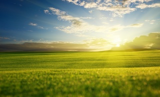 příroda, pole, nebe, mraky, slunce, kopce, léto