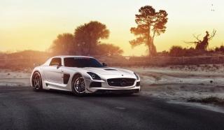 Mercedes SLS, sports car, road, nature, trees, sunset, sand, car, tuning, Mercedes Benz