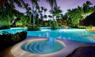 The hotel, resort, evening, pool, the rest, house and comfort, palm trees, beautiful, summer