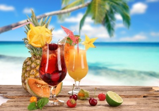 cocktail, summer, Palma, fruit, delicious, background, tropics
