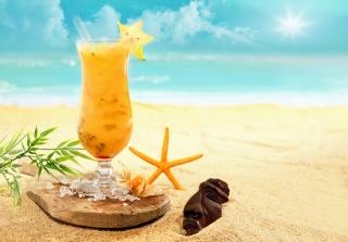 koktejl, léto, pláž, led, jídlo, písek, led, nebe, slunce