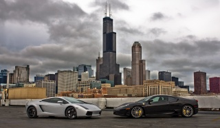 Lamborghini, феррари, car, sports car, the city, skyscrapers, lamborghini, ferrari