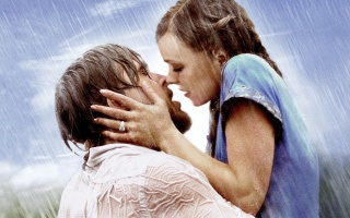the notebook, girl, man, Love, the rain, blue dresses, sadness, meeting, kiss, future