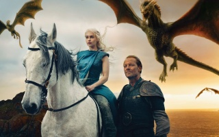 a Song of Ice and Fire, Game of Thrones, Game Of Thrones, actress, blonde, Emilia Clarke, Daenerys Targaryen, The Mother Of Dragons, Ser Jorah, Warrior, armor, horse, dragon, the wind, sea, sunset