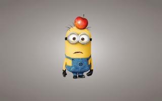 Ošklivé jsem 2, mignon, kreslený, pozitivní, šedé pozadí, jablko