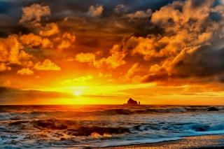 лето, природа, океан, пляж, небо, закат, солнце, скалы