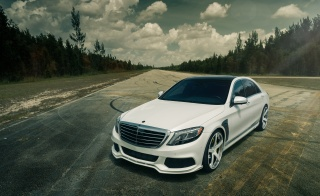 mercedes-benz, supercar, white, Mercedes Benz, road, nature, forest, the sky, clouds, Brabus