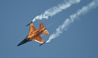 the sky, Virage, the Netherlands, the plane, smoke, f-16 am, Fighter