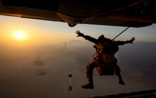 небо, літак, парашут, стрибок