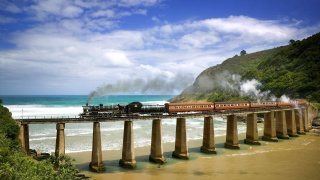 train, retro, composition, the engine, railway, road, the bridge, mountains, the beach, the sky