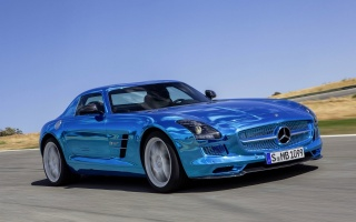 mercedes-benz, SLS, AMG, Electric, blue, Chrome, Suite, In Motion, logo, The hood