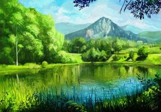 obraz, malování, art, léto, hory, příroda, rybník, obec