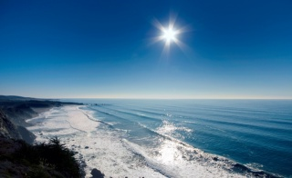 léto, oceán, krásně, břeh, skály, nebe, slunce, vlny