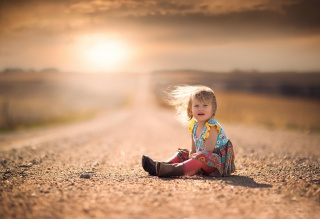 girl, child, photo, positive, road, nature, sunset