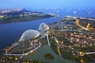 Сінгапур, вогні, будівлі, місто, узбережжя, ніч, краса