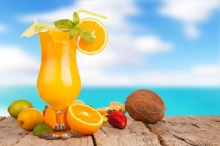 šťáva, pomeranče, lime, citron, jahody, kokos, chutné, léto, pozadí, moře, nebe