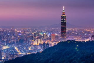 Китай, КНР, Тайбей, місто, вечір, хмарочос, красиво
