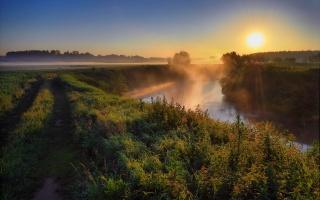 річка, тетерів, Украина, ранок, туман, природа, рибалка