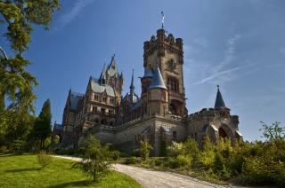 Німеччина, замок Драхенбург, дорога, зелень, небо, краса