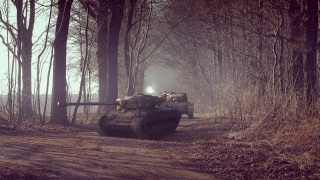 Tank, forest, road