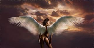 арт, ангел, фэнтези, фотошоп, крылья, девушка, обнаженная, небо, облака