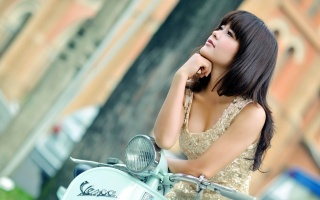 girl, sexy, face, eyes, view, sponge, mouth, hair, dress, scooter, street, beauty