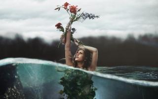 holka, květiny, makro, foto, prsa, pod vodou, photoshop, příroda