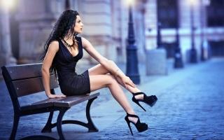 сексуальна, Модель, сукню, підбори, Legs, брюнетка, дівчина, жінка