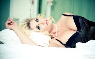 блондинка, погляд, груди
