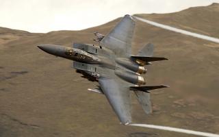 letadlo, f 15, bojové, Bojovník, let, rychlost, pozadí, hory