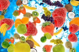 berries, fruit, raspberry, bananas, Kiwi, strawberry, lime, apples, pineapple, coconut, grapes, water