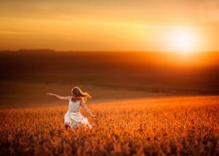 природа, поля, пшениця, дівчинка, захід, світло, сонця, діти