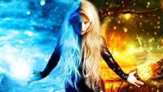 дівчина, довговолоса, блондинка, фотошоп, фентезі, стихія, вогонь, мороз, погляд