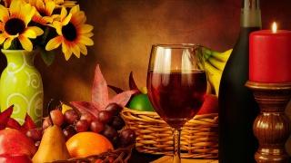 still life, wine, Glass, bottle, Candle, fruit, vase, flowers, background, beauty