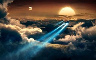 гори, хмари, корабель, прожектор