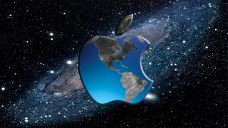 Apple, креатив, фотошоп, космос, яблоко, Галактика, материки, звёзды
