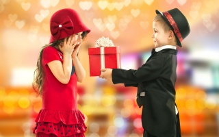 children, girl, boy, gift, positive, joy, beautiful