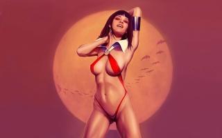 Vampirella, дівчина, вампір, бікіні, ікла