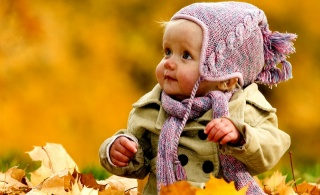 child, girl, autumn, leaves, photo, positive, piercing, view