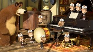 маша и медведь, мультфильм, позитив, дети, медведь, музыкальные инструменты