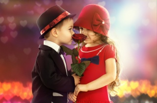 children, boy, girl, game, in, adults, gift, rose, friendship, positive, background, heart