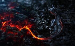 фентезі, арт, вулканчик, Вогняний, дракон, вогонь, зола, попіл