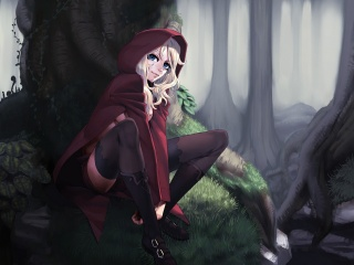 little red riding hood, art, little red riding hood, the tale, Anime, forest, trees